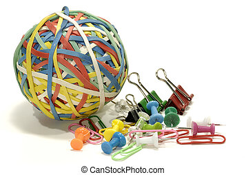 Office Supplies - Rubberband Ball with Paperclips and...