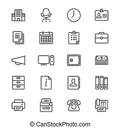 Office supplies thin icons - Simple vector icons. Clear and...