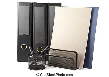 Three black folders, container with paper and container with pens isolated on white background.