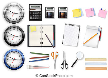 Office supplies. Vector. - A clocks, calculators and some ...