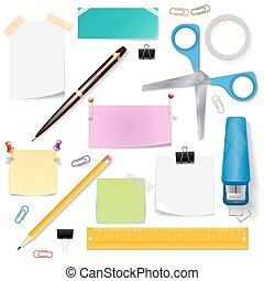 Office supplies vector set - Office supplies set. Scissors...
