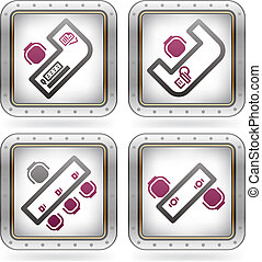 Office Supply Icons Set (part of the 2 Colors Chrome Icons...