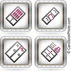 Office Supply Icons Set (part of the 2 Colors Chrome Icons ...