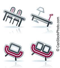 Office Supply Icons Set (part of the 22 Degrees Blue Icons ...