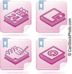 Office Supply Icons Set (part of the Flamingo Squared 2D...