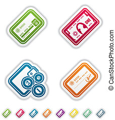 Office Supply Objects: Credit card, Note, Wallet and coins,...
