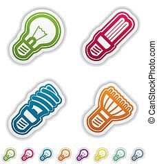 Office Supply Objects: lightbulb, fluorescent eco lightbulb...