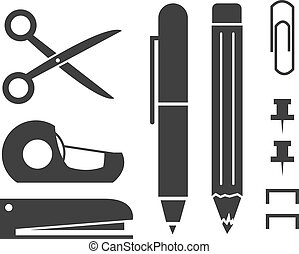 Office Supply Silhouettes - Various isolated office supply...