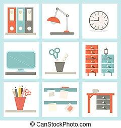 Office Supply Vector Flat Design Illustration