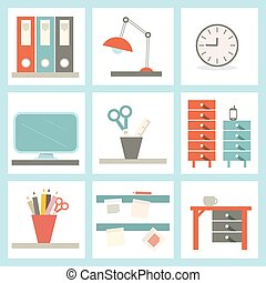 Office Supply Vector Flat Design Illustration