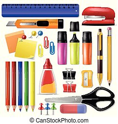Office supply vector stationery school tools icons and accessories of education assortment pencil marker pen illustration set isolated on white background