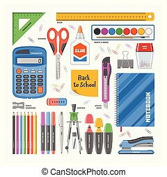 Office supply vector stationery school tools icons and accessories of education assortment pencil marker pen calculator illustration set isolated on white background