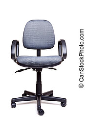Photo of an adjustable office swivel chair front facing isolated on a white background with natural shadow.