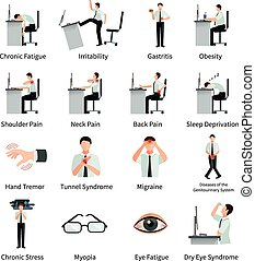 Office Syndrome Flat Icons Set - Office syndrome flat icons...