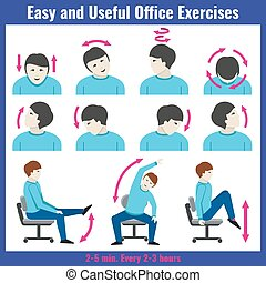 Office syndrome health care concept vector infographic
