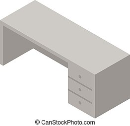 Office table icon, isometric style
