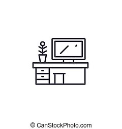 Office table linear icon concept. Office table line vector sign, symbol, illustration.