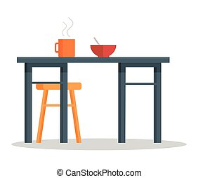 Office Table with Hot Coffee Cup and Bowl of Soup
