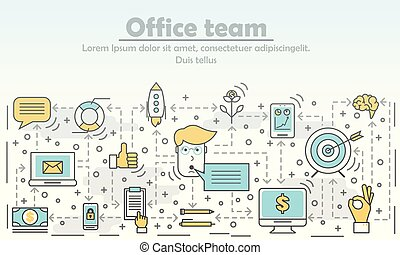Office team concept vector illustration. Modern thin line flat style design element with business symbols for website banners and printed materials.