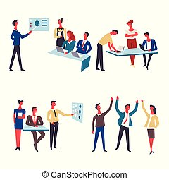 Office team at work vector icons
