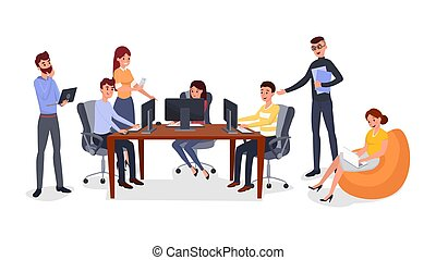 Office team building exercise vector illustration