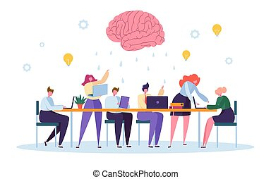Office Team Character Brainsorm Work Conference. Business People Group Meeting at Desk Laptop with Brain Symbol above. Corporate Project Creative Teamwork Flat Cartoon Vector Illustration