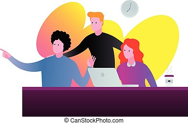 Office team discussion illustration in vibrant colors.