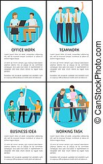 Office Team Work on Business Idea Promo Posters