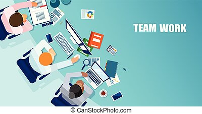 Vector of business people having a meeting and brainstorming a strategy