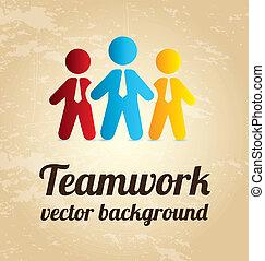 office teamwork over vintage background vector illustration