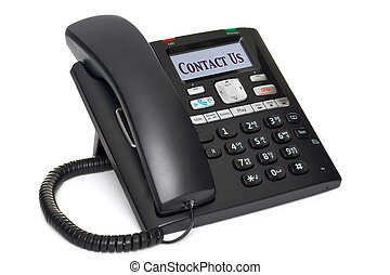 Photo of an office telephone, LCD screen with the words Contact Us, isolated on a white background. Clipping path for screen.
