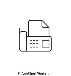 office telephone fax, digital phone, document thin line icon. Linear vector symbol