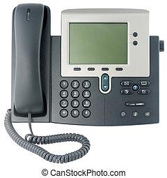 Office digital telephone set, off-hook, isolated on white