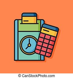 office time clock vector icon
