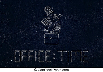 office time text in digital watch style and bag with groups of business objects flying out of it