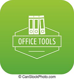 Office tool icon green vector