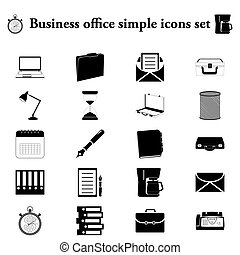 Office tools business 20 simple icon on colorful background