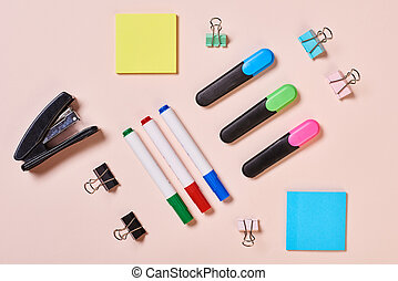 Office Tools Flat Lay - Highlighter pens, whiteboard markers...
