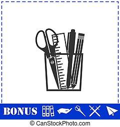Office tools icon flat. Simple vector symbol and bonus icon