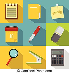 Office tools icon set, flat style