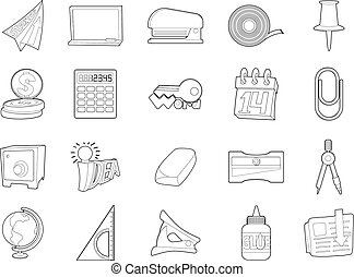 Office tools icon set, outline style