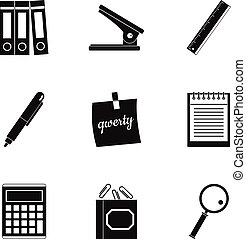 Office tools icon set, simple style