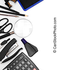 Office tools on white background.