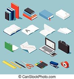 Office tools set - Isometric office tools & stationery set:...