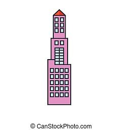 Office tower line icon concept. Office tower flat vector sign, symbol, illustration.