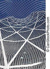 Office Tower through mesh sculpture
