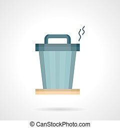 Office trash can flat color vector icon