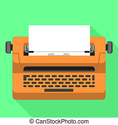 Office typewriter icon, flat style