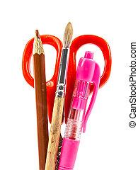 Office utensils on white background
