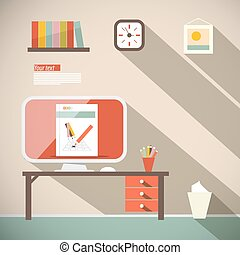 Office Vector Flat Design Illustration